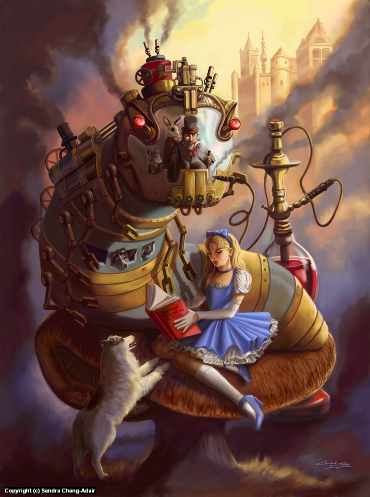 Steampunk Alice in Wonderland Artwork by sandra chang-adair