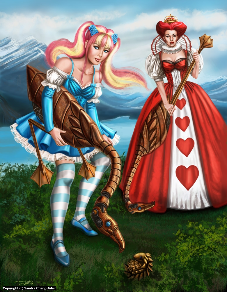 Gothic Lolita Alice and Queen of Hearts Croquette Artwork by sandra chang-adair