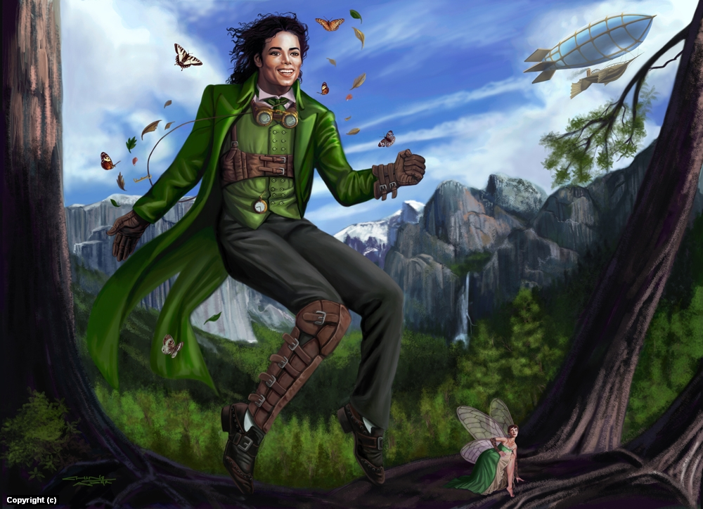 Steampunk Michael Jackson as Peter Pan Artwork by sandra chang-adair