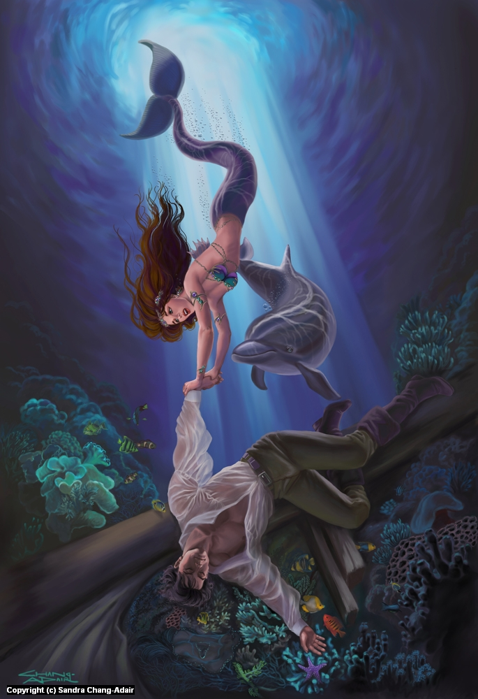 Little Mermaid Saving the Prince Artwork by sandra chang-adair