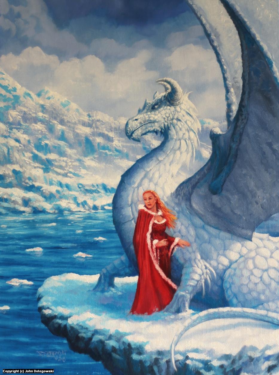 White Dragon and lady Artwork by John Dotegowski