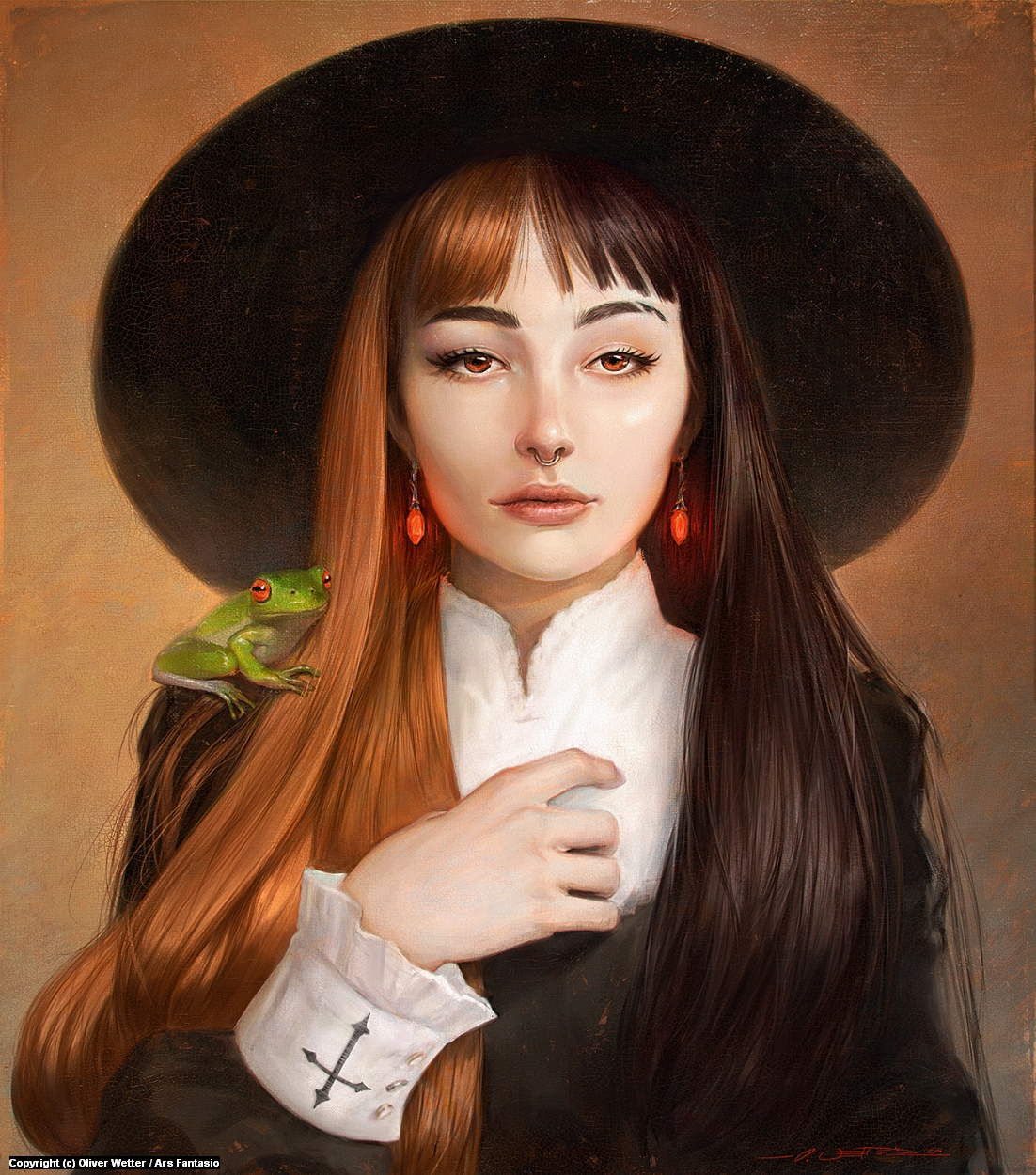 Girl with the Red Earrings Artwork by Oliver Wetter