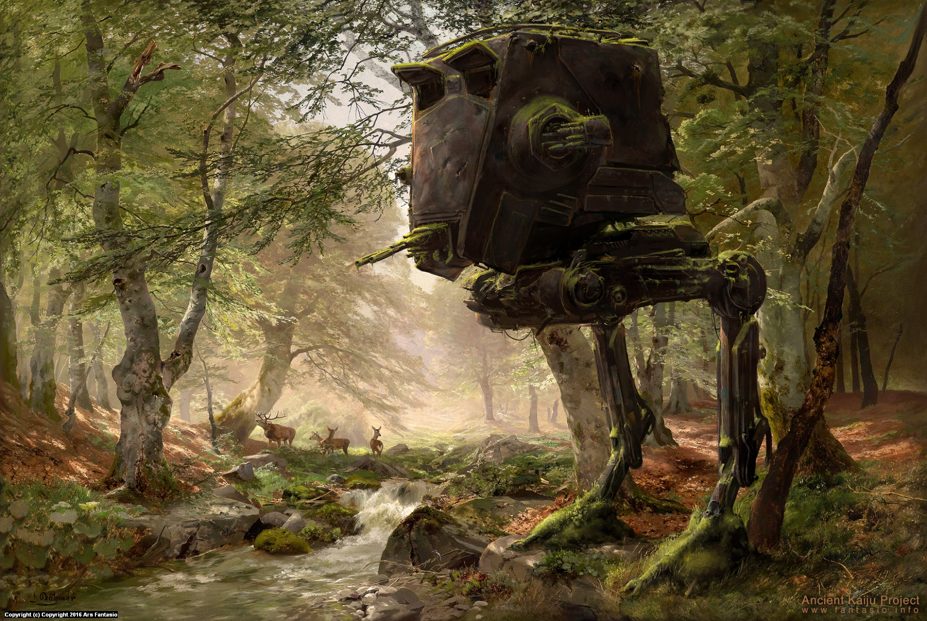 Abandoned AT-ST in the Forest Artwork by Oliver Wetter