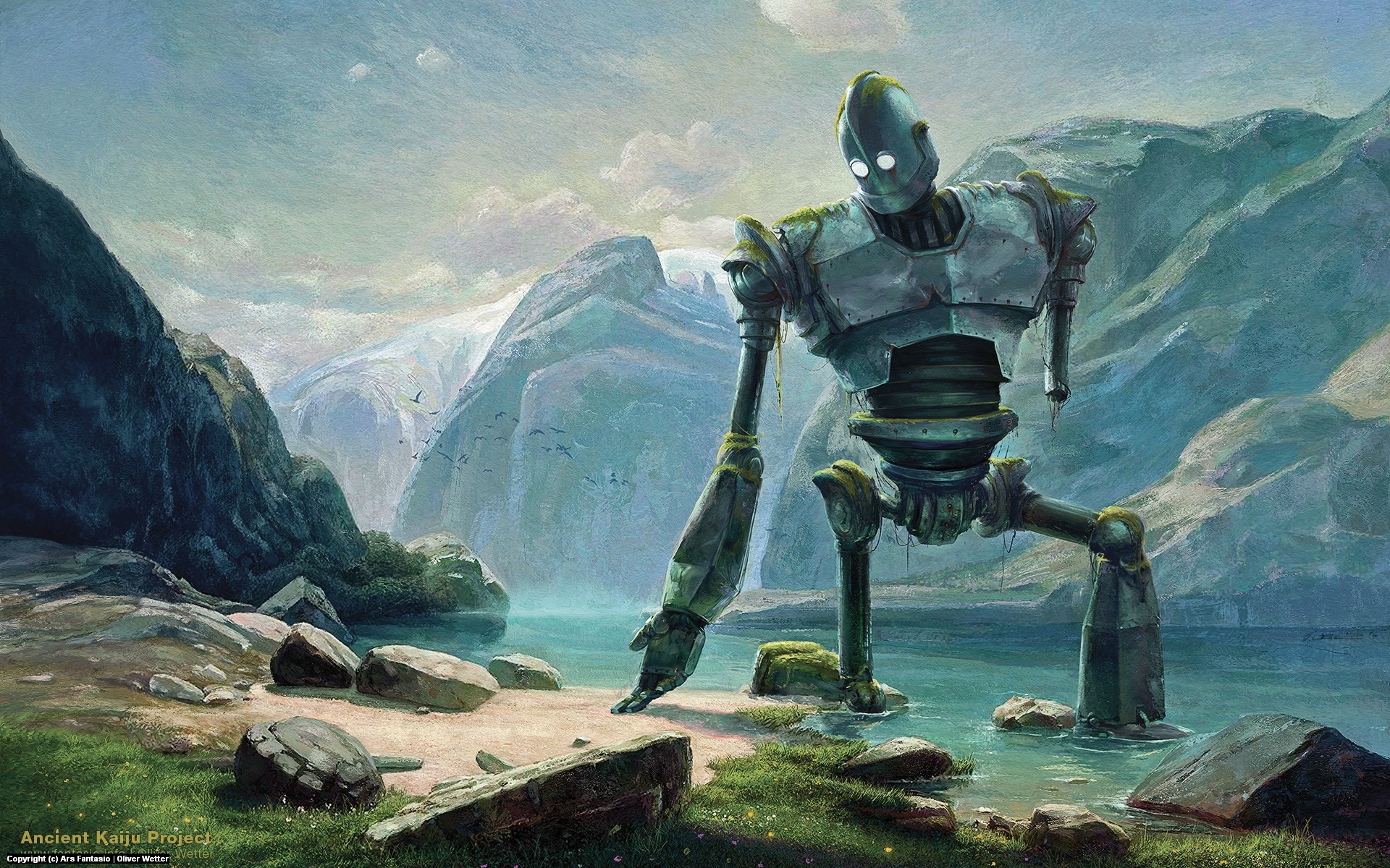 Abandoned Iron Giant At  Lake In the Swiss Mountains Artwork by Oliver Wetter