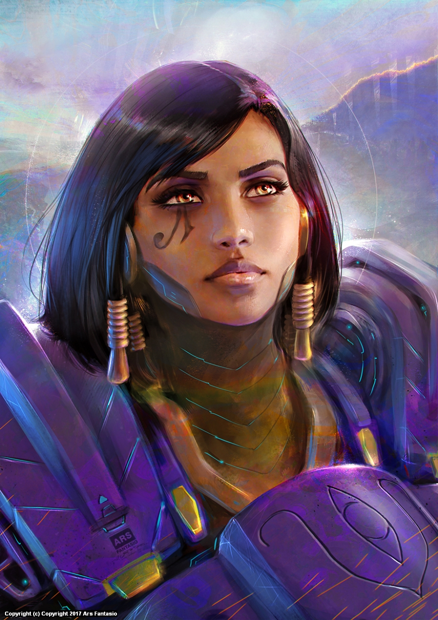 Pharah portrait / Overwatch fanart Artwork by Oliver Wetter