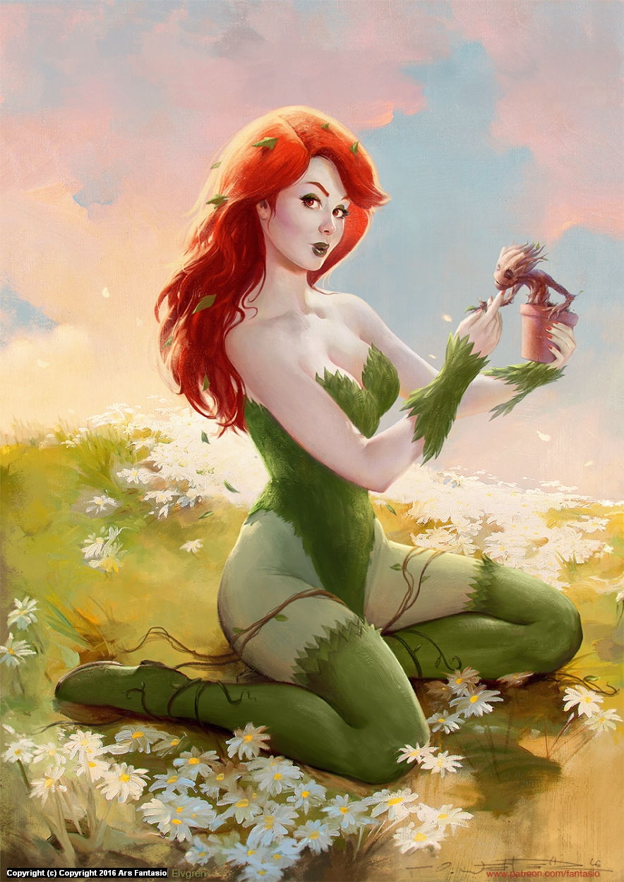 Poison Ivy & Baby Groot / Elvgren Tribute Artwork by Oliver Wetter