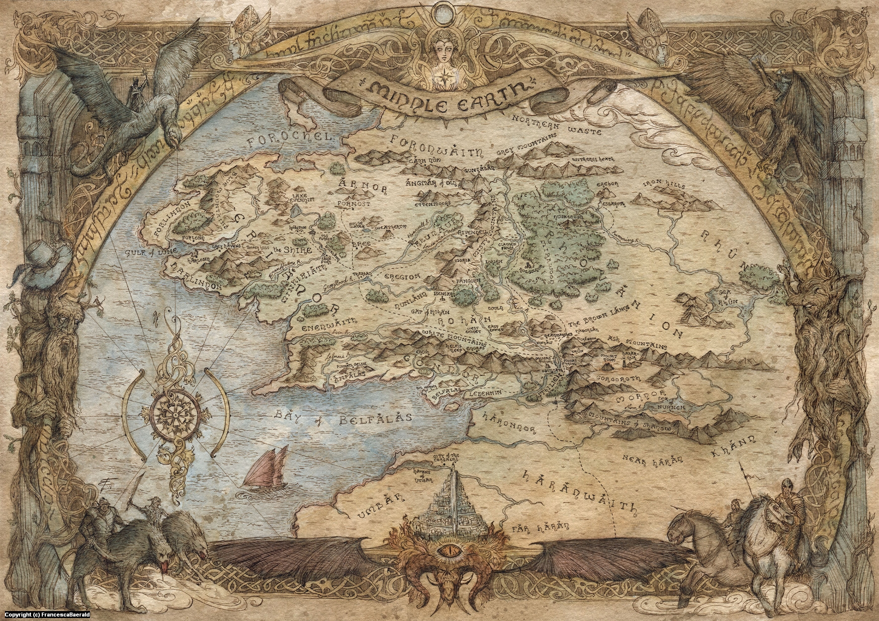 Map of Middle Earth Artwork by Francesca Baerald
