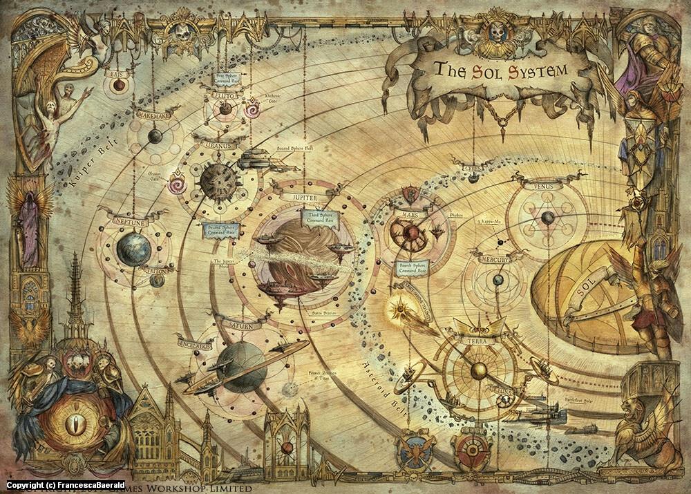 Warhammer Sol System Map Artwork by Francesca Baerald
