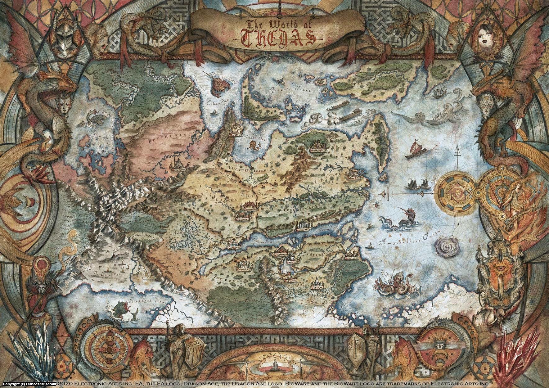 Map of Thedas - Dragon Age Artwork by Francesca Baerald