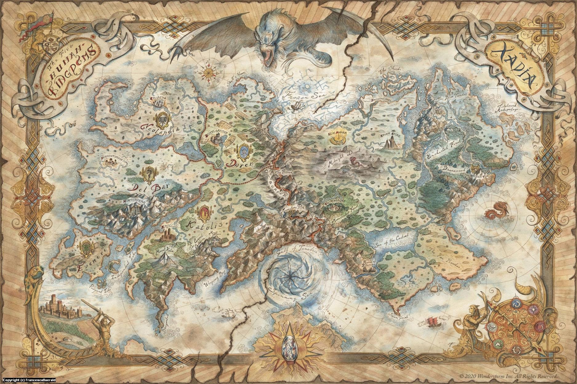 Map of Xadia - The Dragon Prince Artwork by Francesca Baerald