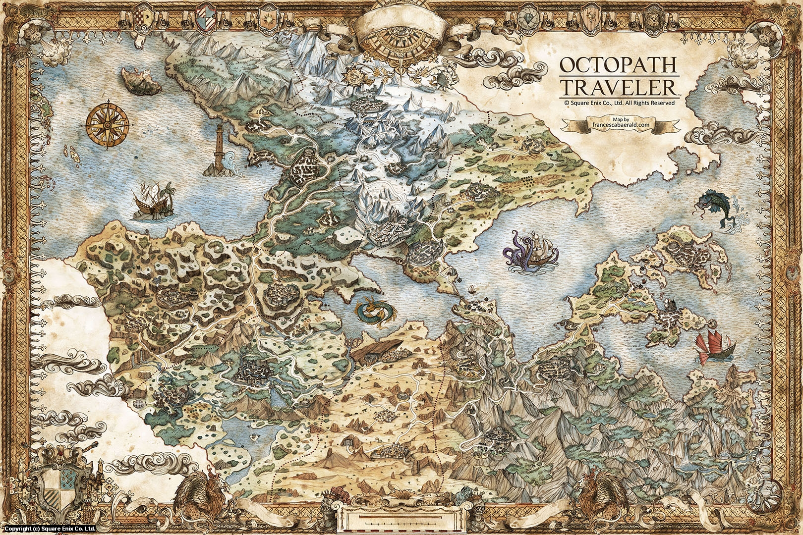 Octopath Traveler Map Artwork by Francesca Baerald