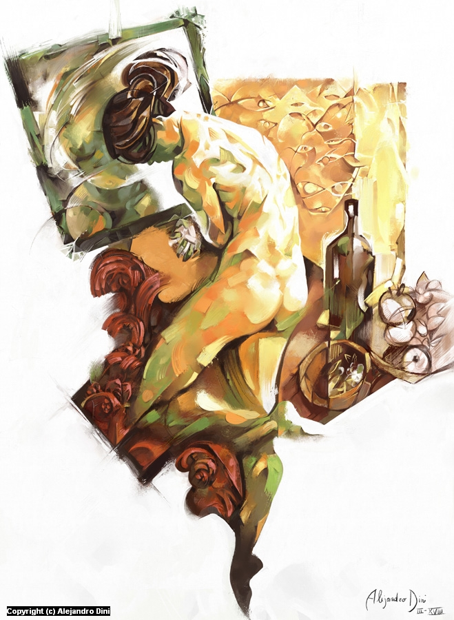 Nude Bathing Artwork by Alejandro Dini