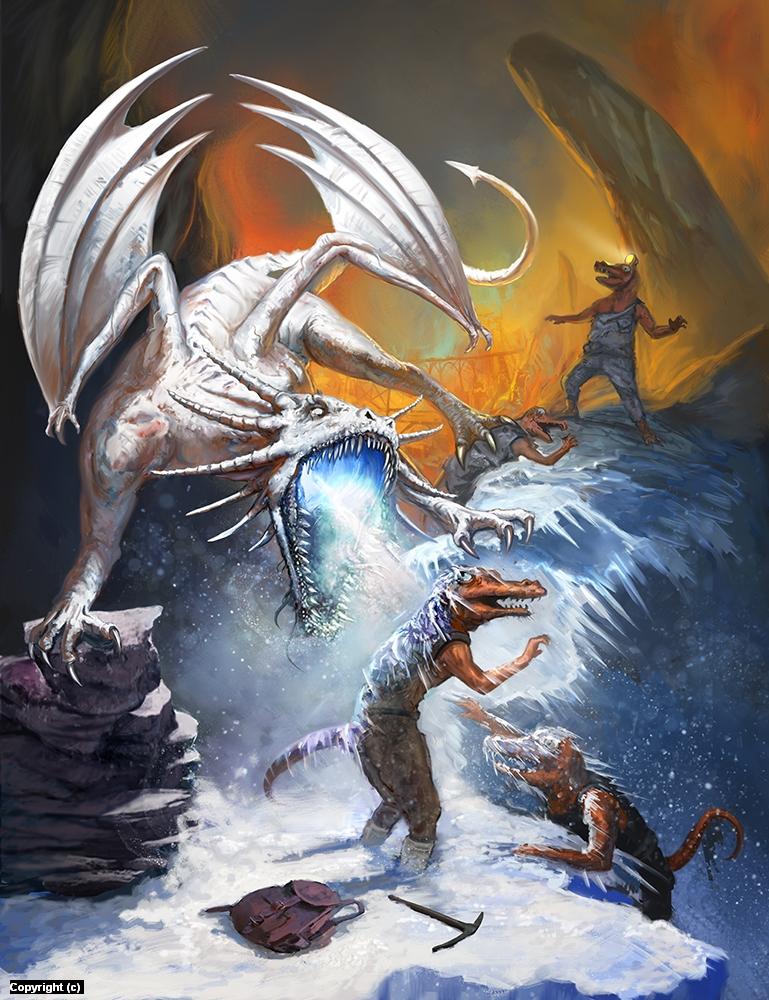 White Dragon Vs. Kobolds Artwork by Trevor Smith