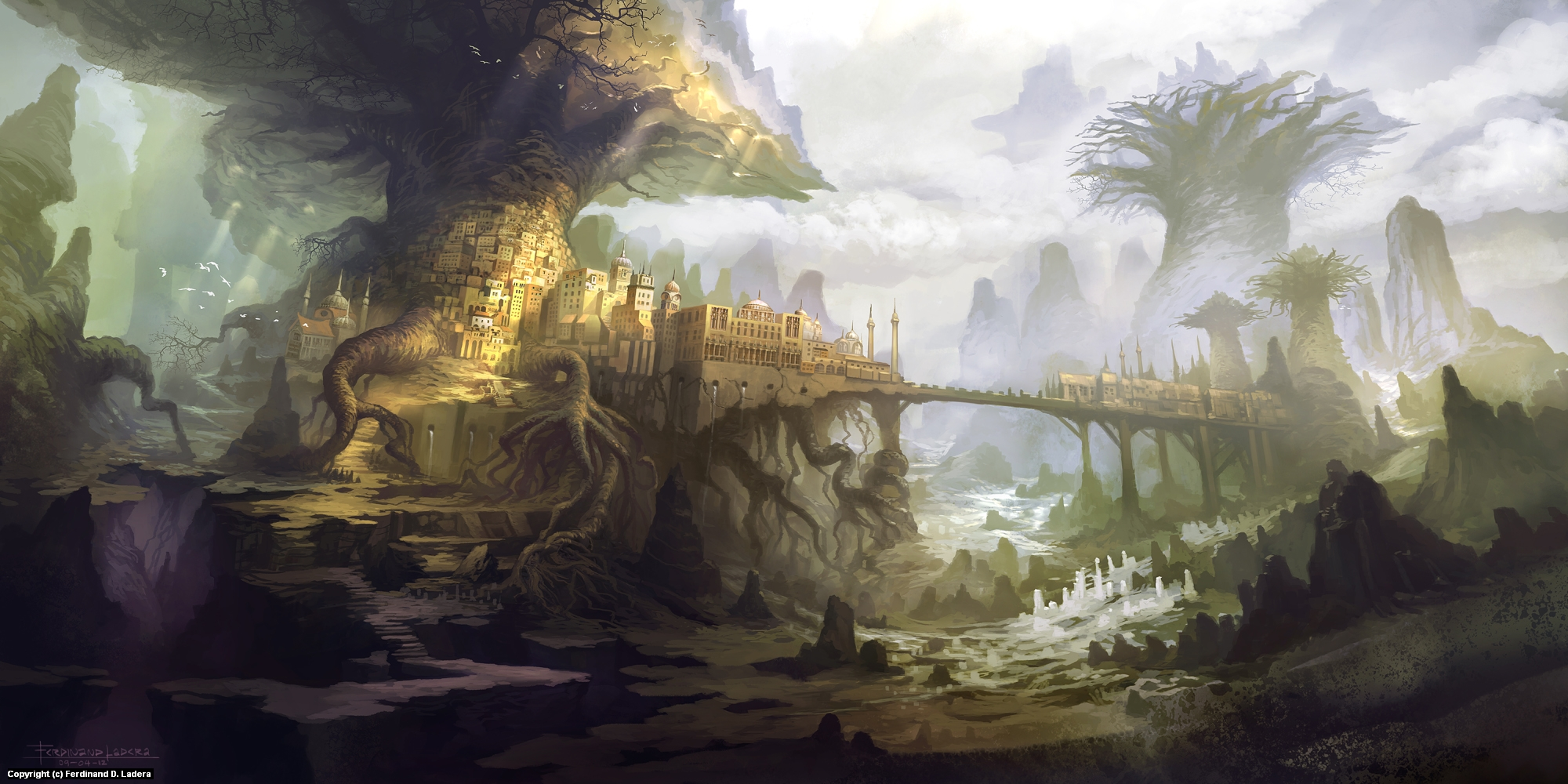 The town of Aldackelm Artwork by Ferdinand Ladera