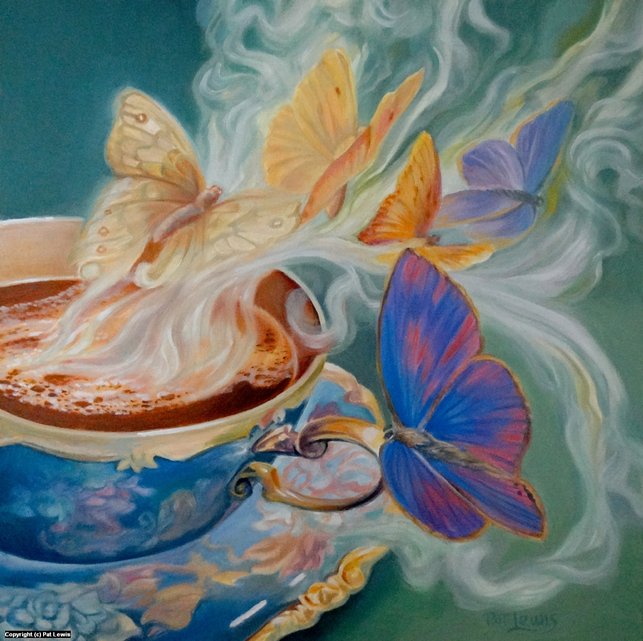 Butterflies are tea Artwork by Pat morrissey-Lewis