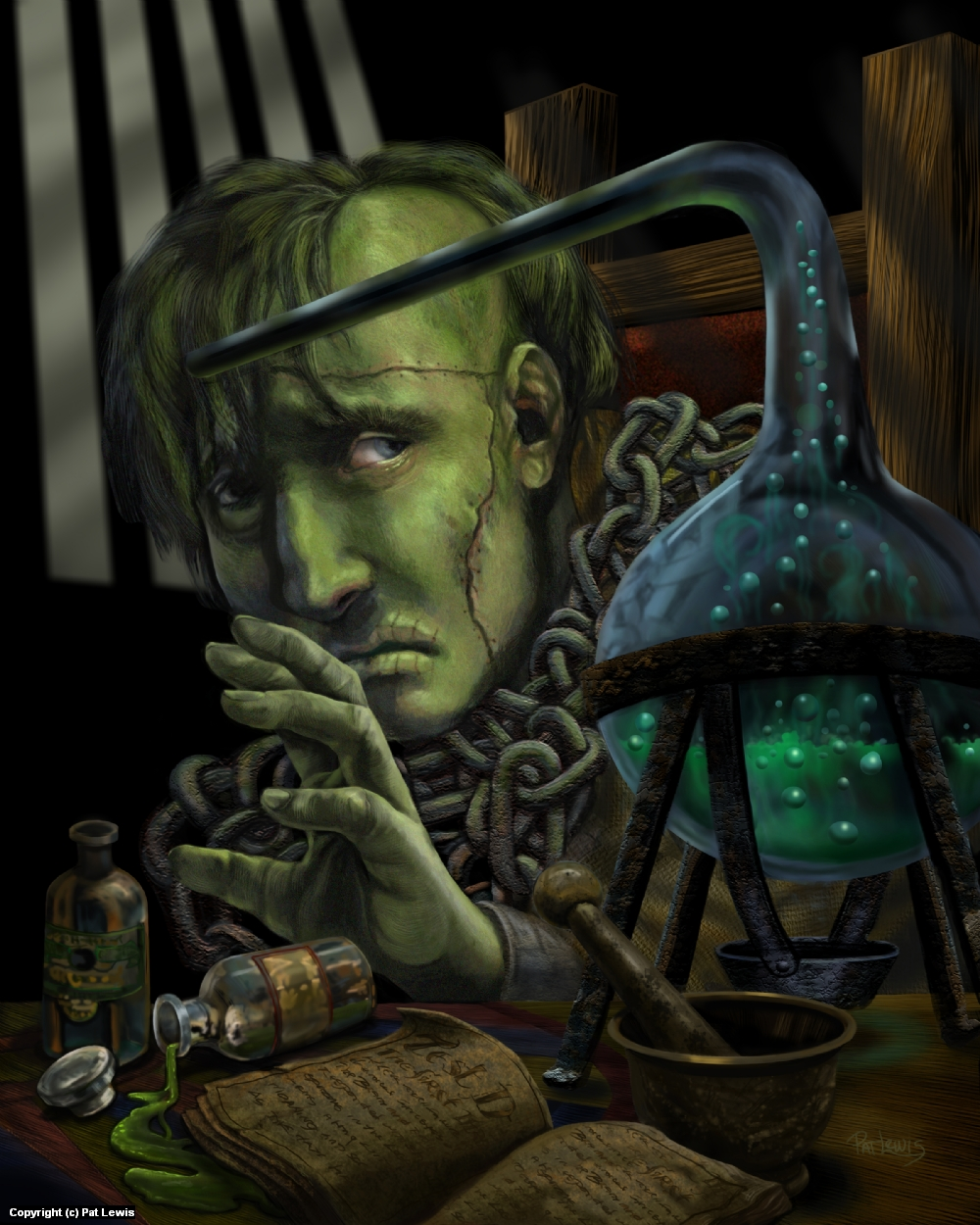 Frankenstein's tragic creation Artwork by Pat morrissey-Lewis