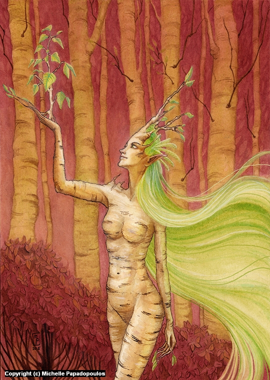 Birch Dryad Artwork by Michelle Papadopoulos