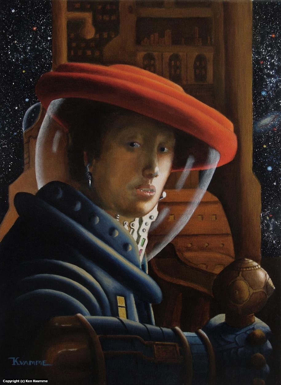 Spacegirl with Red Helmet (after Vermeer) Artwork by Ken Kvamme