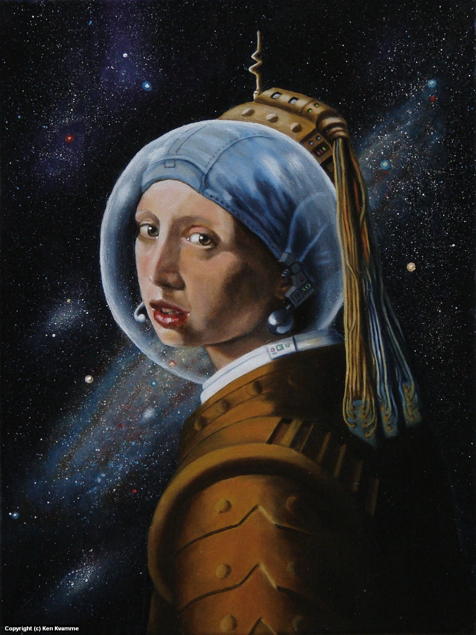 Spacegirl with Pearl Earpiece (after Vermeer) Artwork by Ken Kvamme