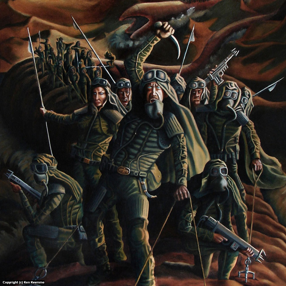 Muad'dib and the Worm Riders of Dune Artwork by Ken Kvamme