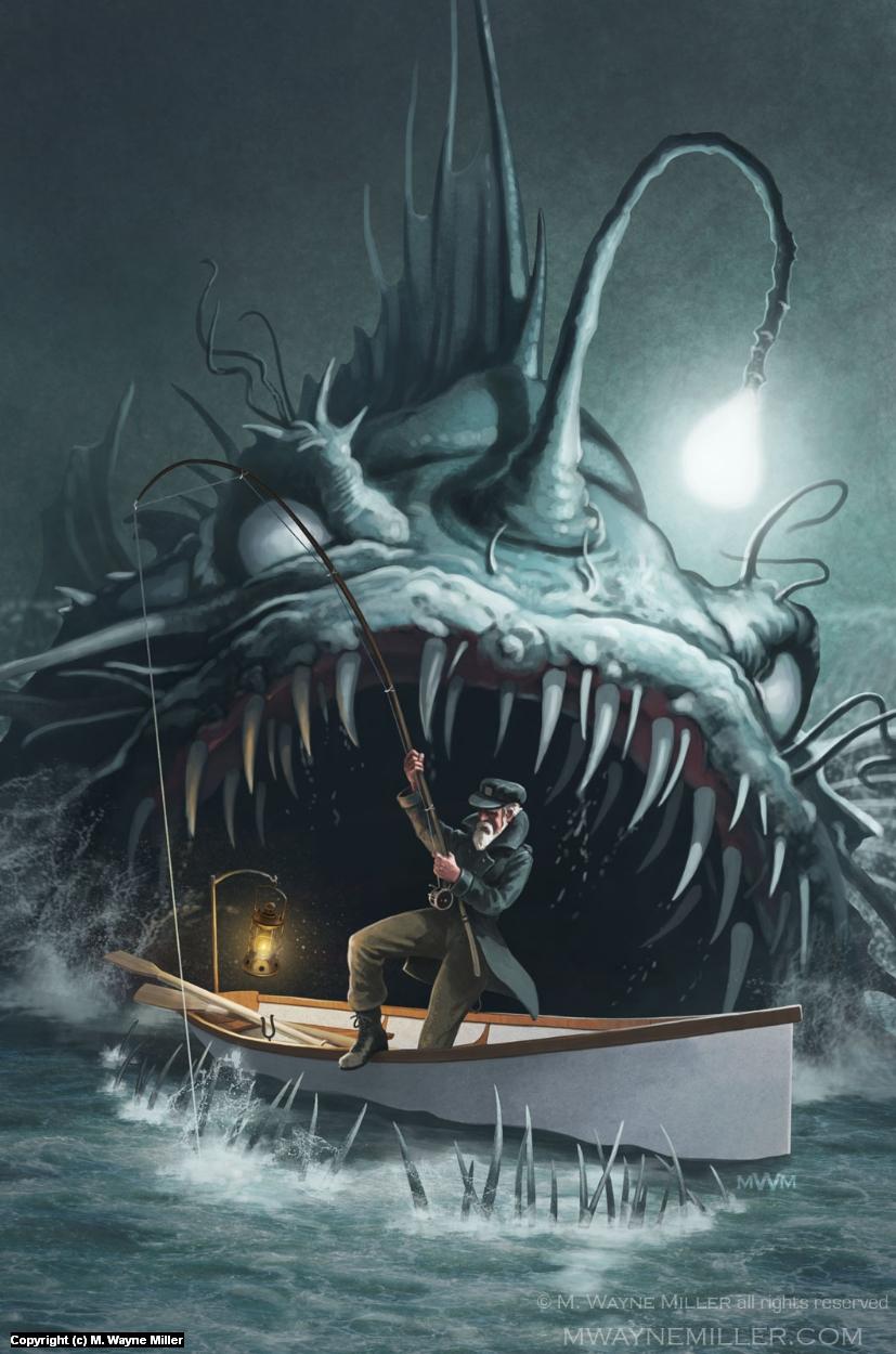 Angler in Darkness Artwork by Wayne Miller