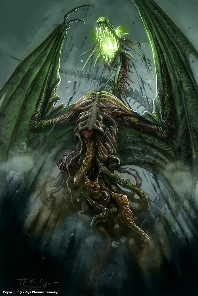 Zombie Dragon Artwork by Piya Wannachaiwong