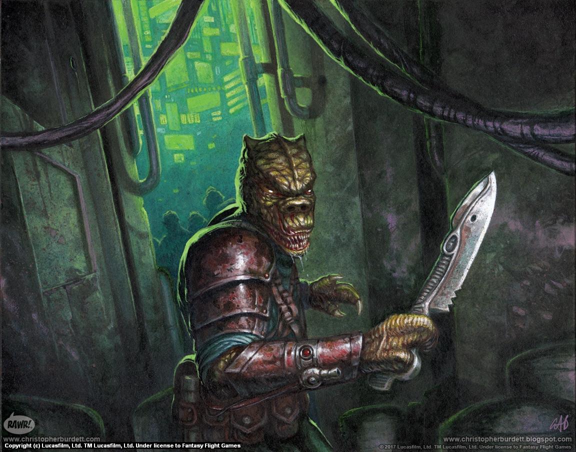 Trandoshan Mercenary Artwork by Christopher Burdett