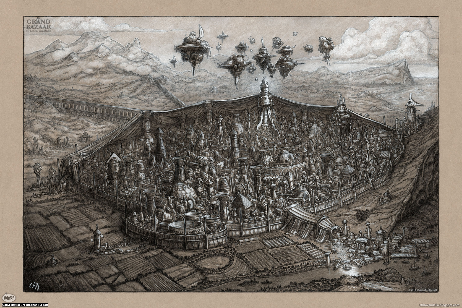 The Grand Map of the Bazaar of Ethra VanDalia Artwork by Christopher Burdett