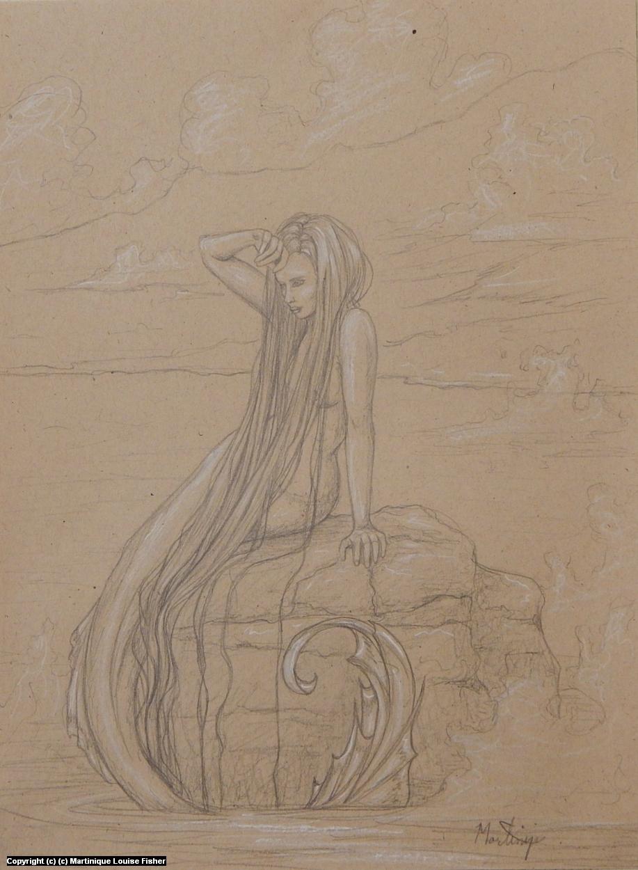 Mermaid Sunbathing Sketch Artwork by Martinique Fisher