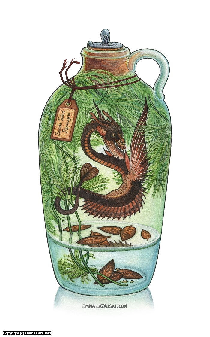 Bottled: Spade-Tailed Pipewyrm Artwork by Emma Lazauski