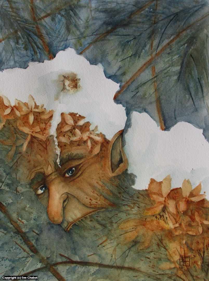 Troll hidden under snowy hydrangeas Artwork by artist Eve