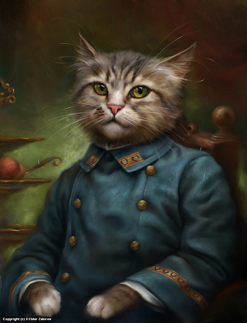 The Hermitage Court Confectioner Apprentice Cat Artwork by Eldar Zakirov