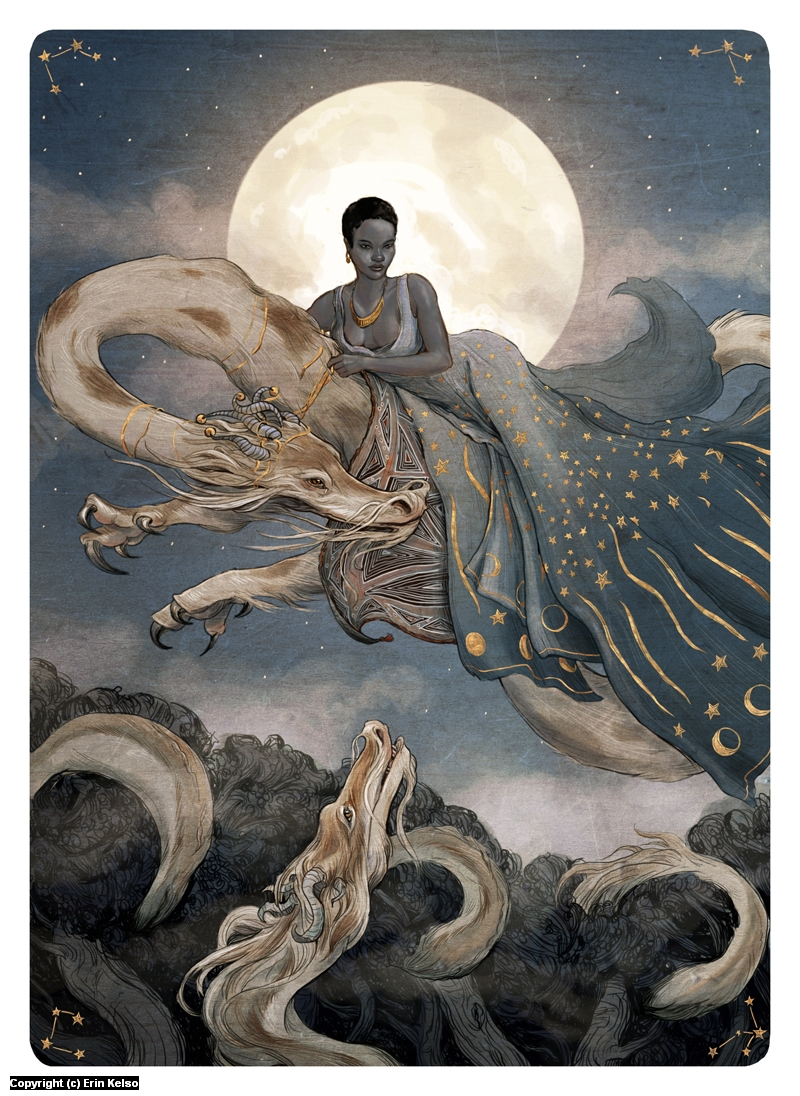 Tarot, the Moon Artwork by Erin Kelso
