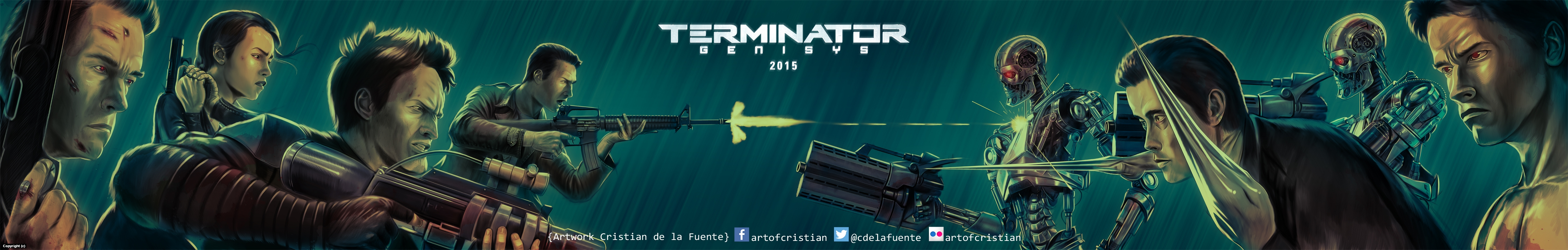 Terminator Genisys banner Poster Artwork by Cristian  De la fuente
