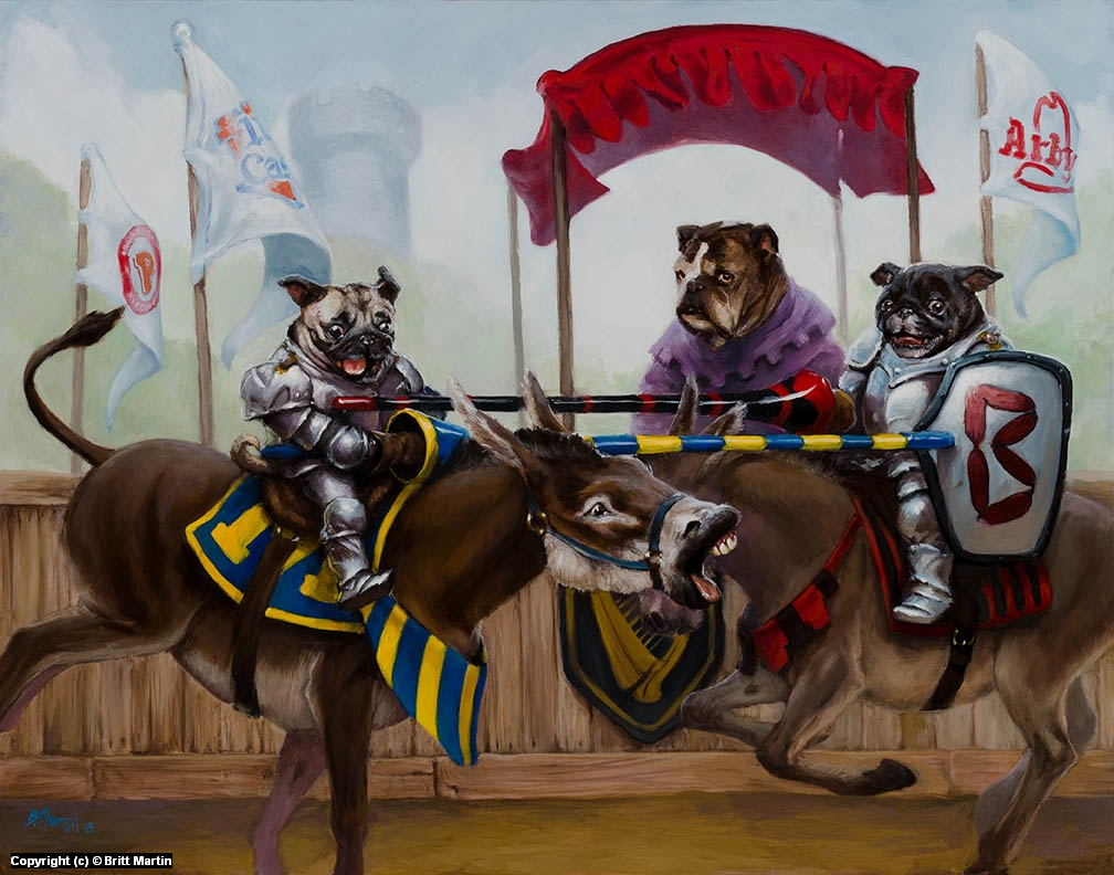 Jousting Pugs Artwork by Britt Martin