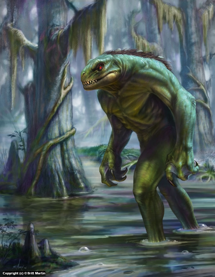 Lizard man of Scape Ore Swamp Artwork by Britt Martin