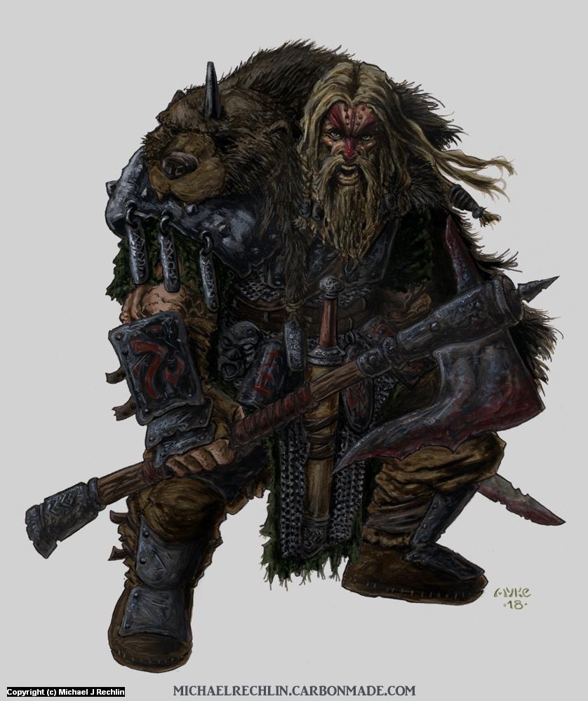 Gwaedfolk Warrior Artwork by Michael Rechlin