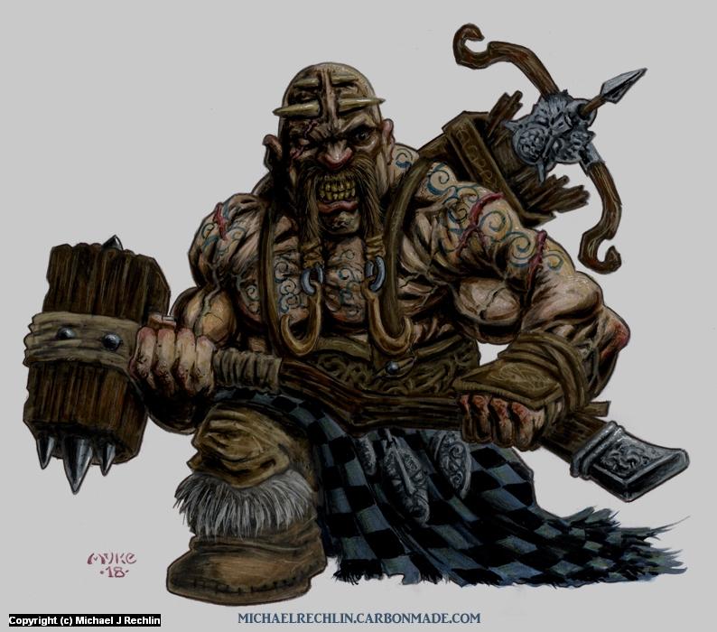 Skulten Dwarf Artwork by Michael Rechlin