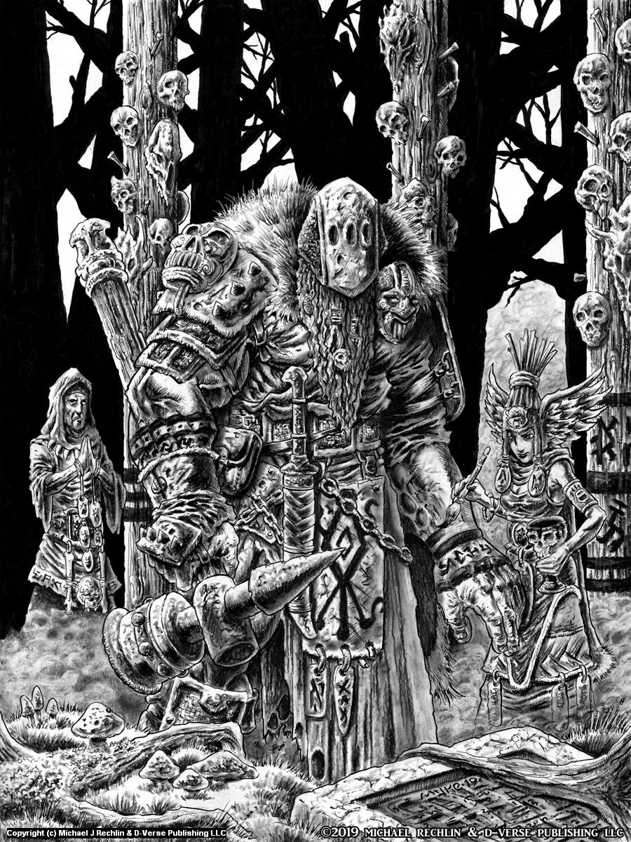 Shamans Prepare A Giant For War Artwork by Michael Rechlin