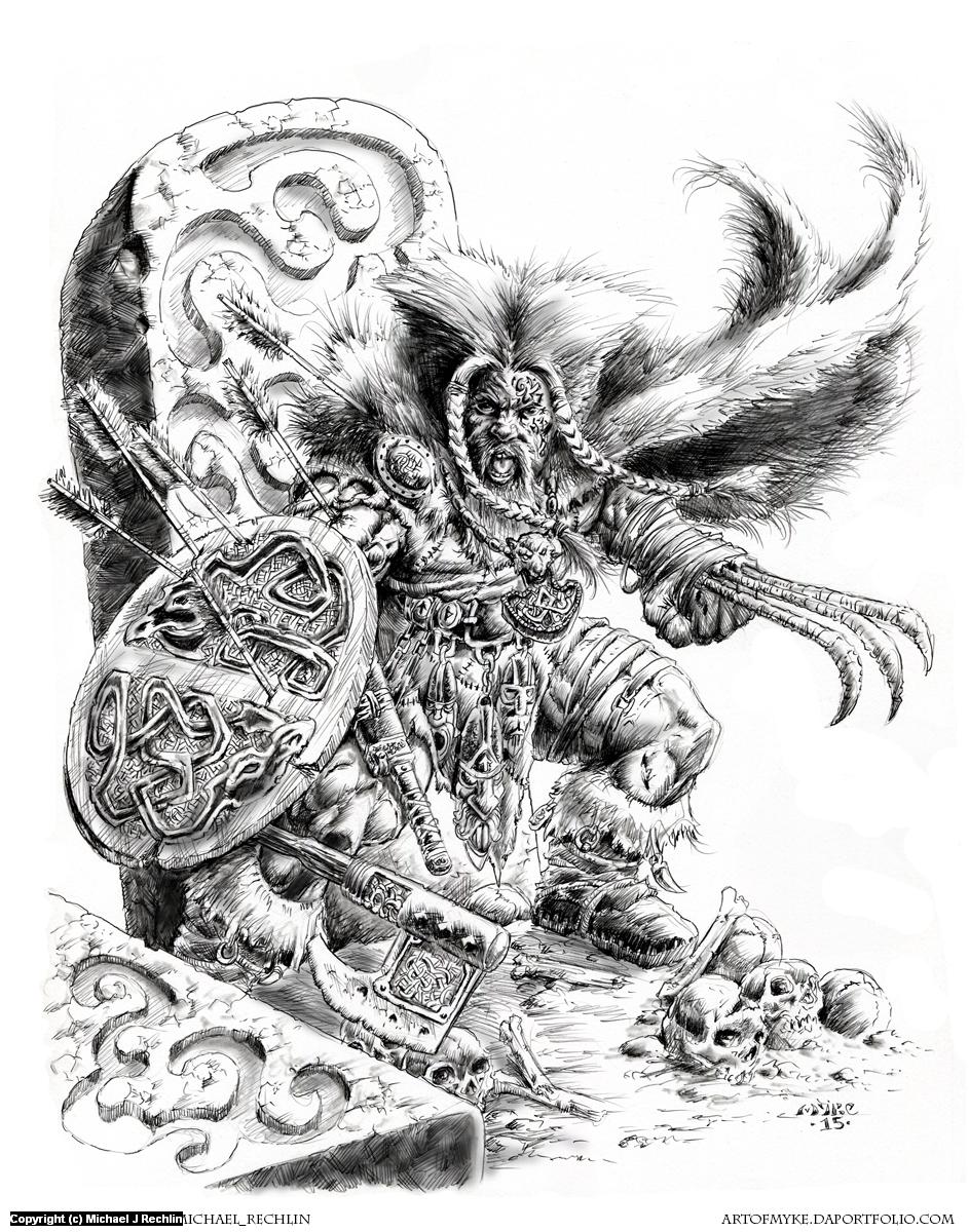 Viking Wolverine Artwork by Michael Rechlin