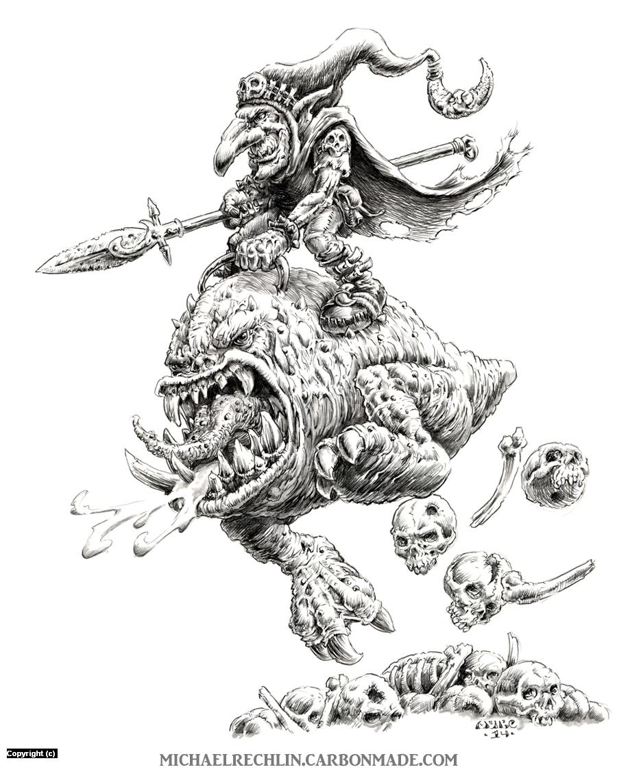 Night Goblin Squig Hopper Artwork by Michael Rechlin
