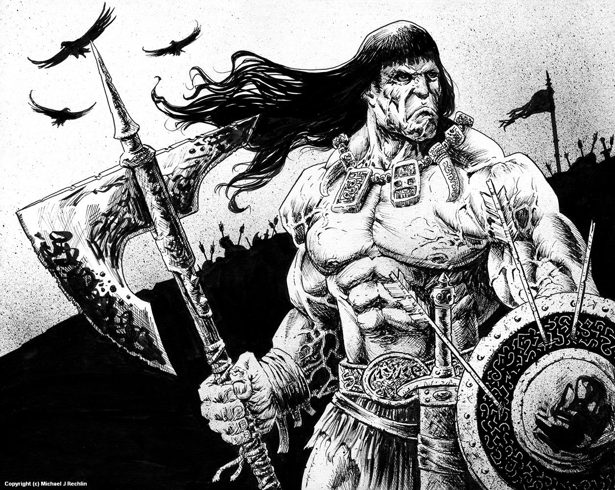 Conan on the Battlefield Artwork by Michael Rechlin