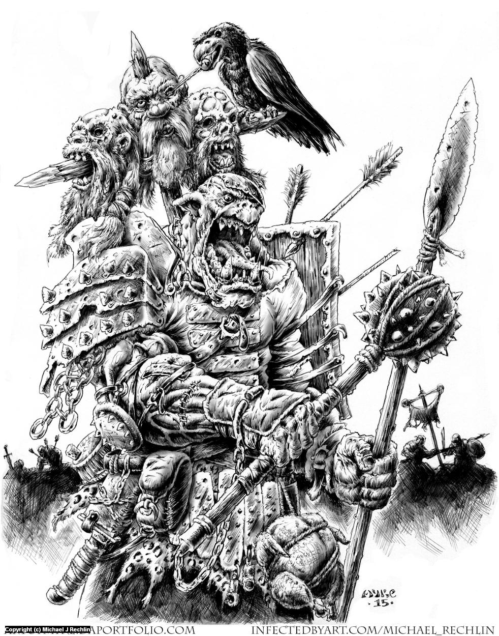 Orc- Dwarven Champion Slayer Artwork by Michael Rechlin