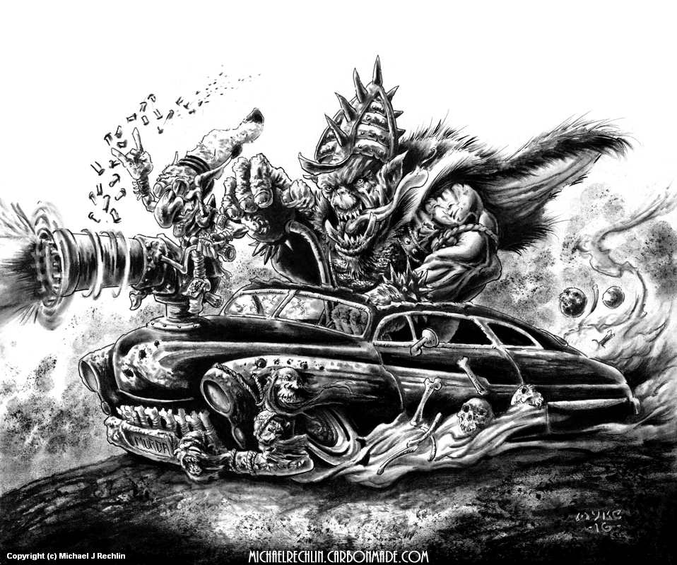 Hot Lead Sled- Ed Roth Tribute Artwork by Michael Rechlin