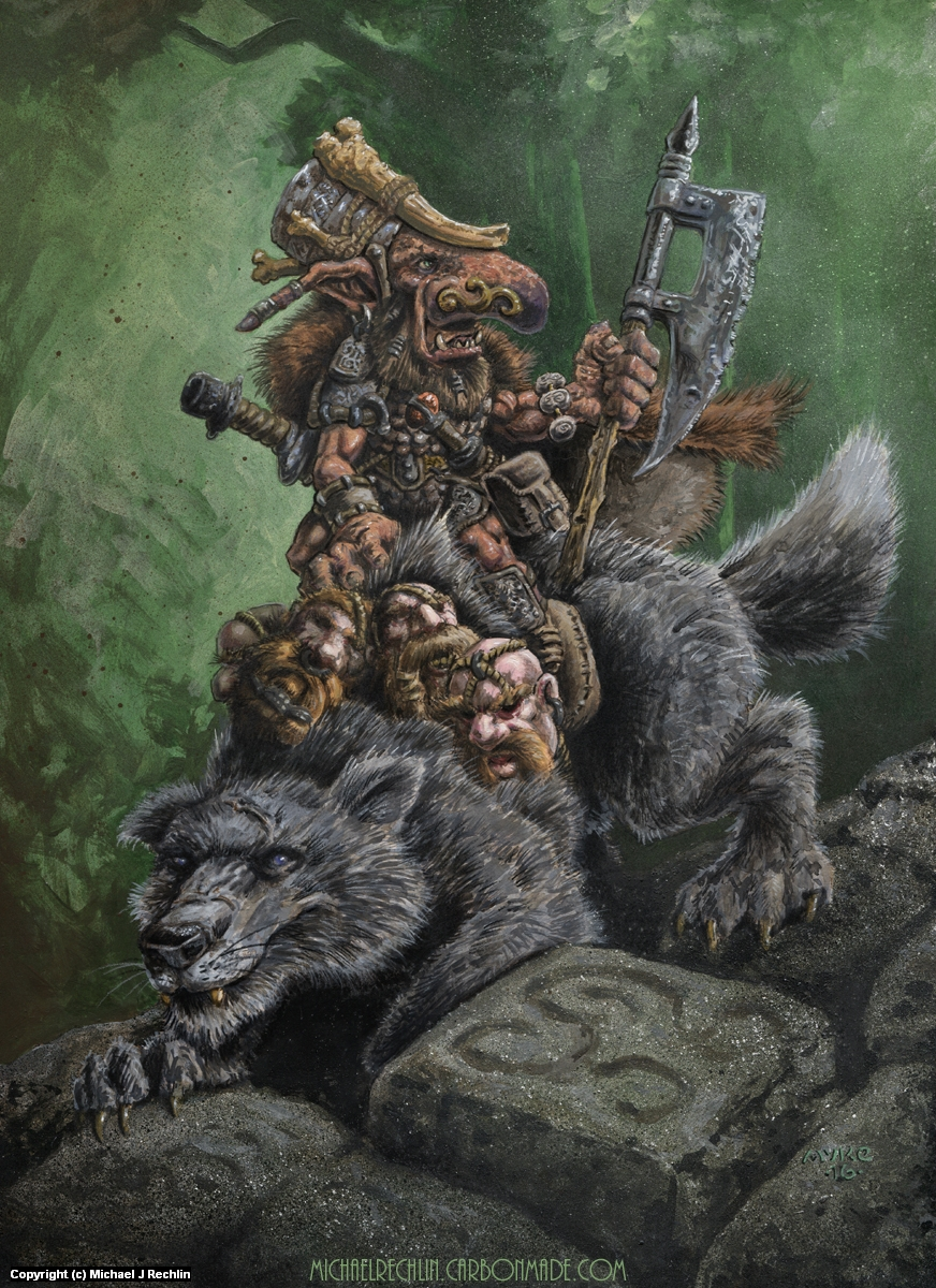 Goblin Wolfrider Artwork by Michael Rechlin