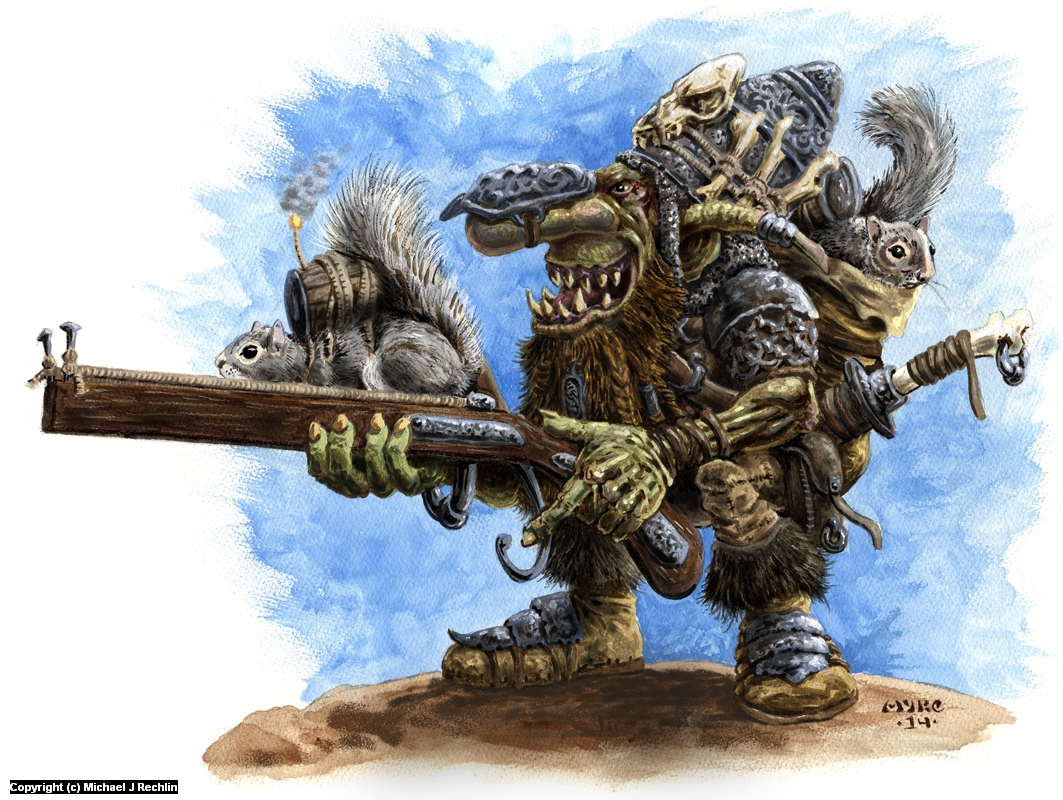 Goblin with Squirrel Launcher Artwork by Michael Rechlin