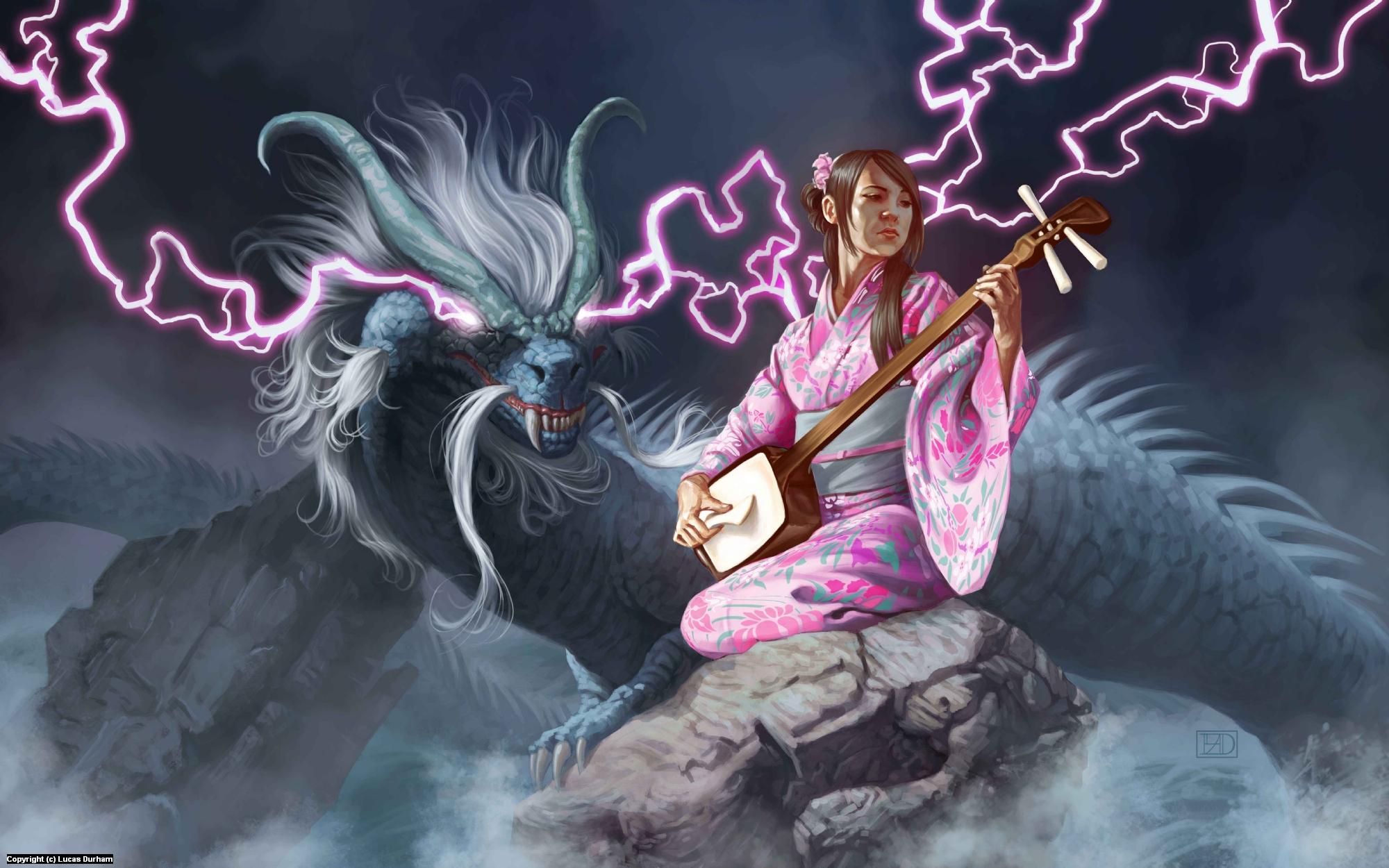 Benzaiten and the Dragon Artwork by Lucas Durham