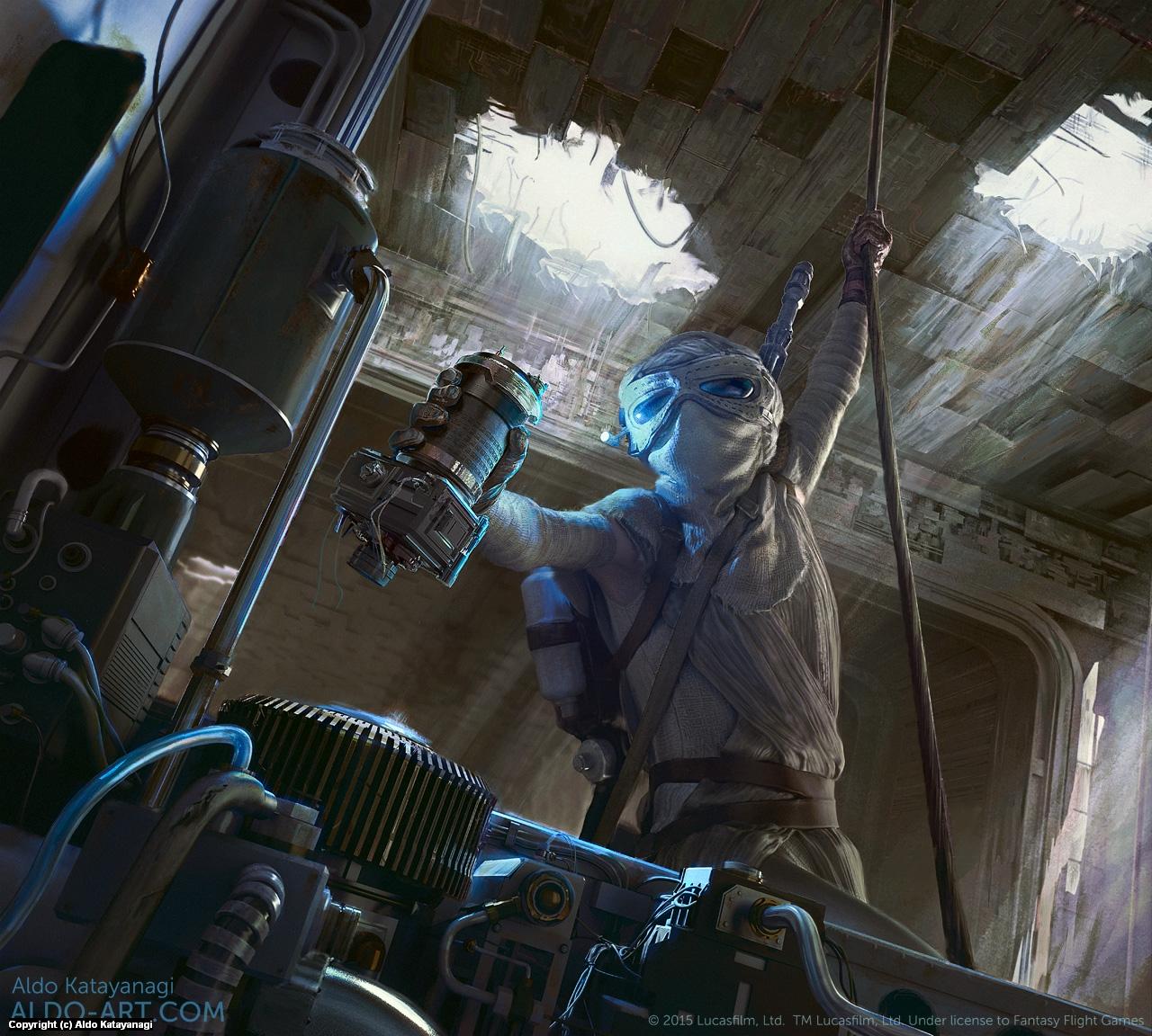 Star Wars Rey Trading Card Artwork by Aldo Katayanagi