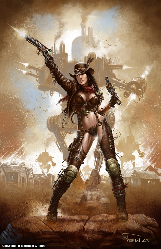 Steampunk Gunslinger Artwork by Mike Penn