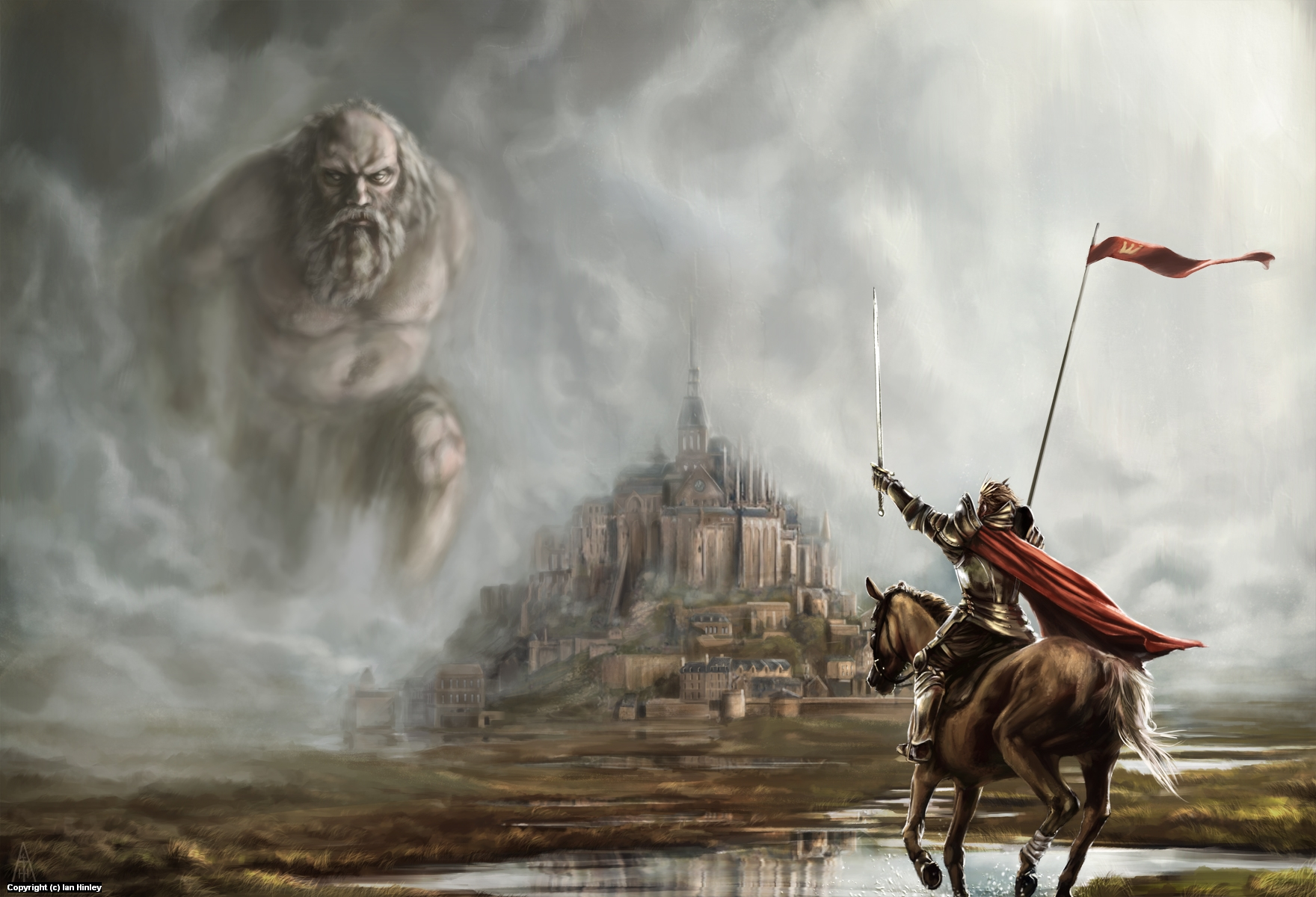 Arthur and the Giant of Mont St Michel Artwork by Ian Hinley